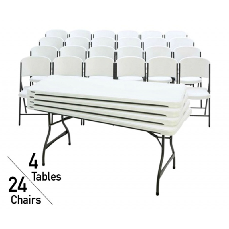 Lifetime 6 Ft Rectangular Tables And Chairs Set - White Granite (80409)