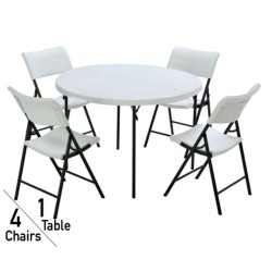 Lifetime 48 In. Round Fold-In-Half Table And Chair Set - White Granite (80411)
