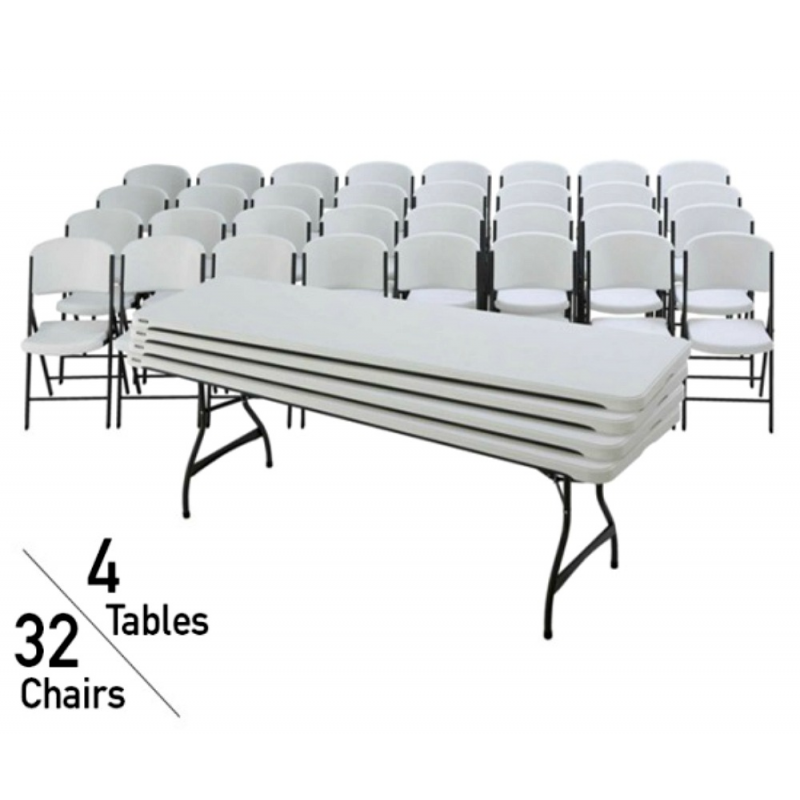 Lifetime 8 Ft Rectangular Stacking Tables And Chairs Set - White Granite (80410)