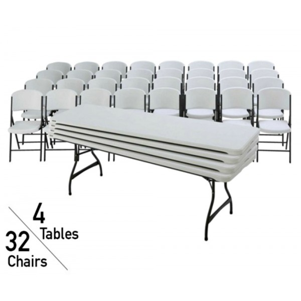 Brilliant Lifetime 4 Stacking 8 Ft Tables And 32 Chairs Set White Granite 80410 Pabps2019 Chair Design Images Pabps2019Com