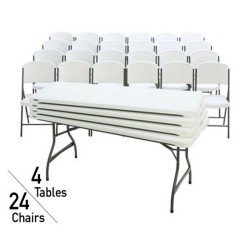 Lifetime 6 Foot Rectangular Tables And Chairs Combo