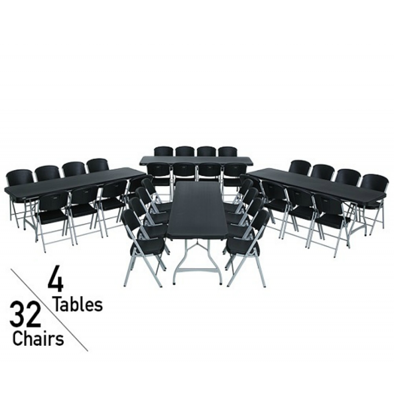 Lifetime 8-Foot Stacking Table And Chair Combo (Black) (80486)