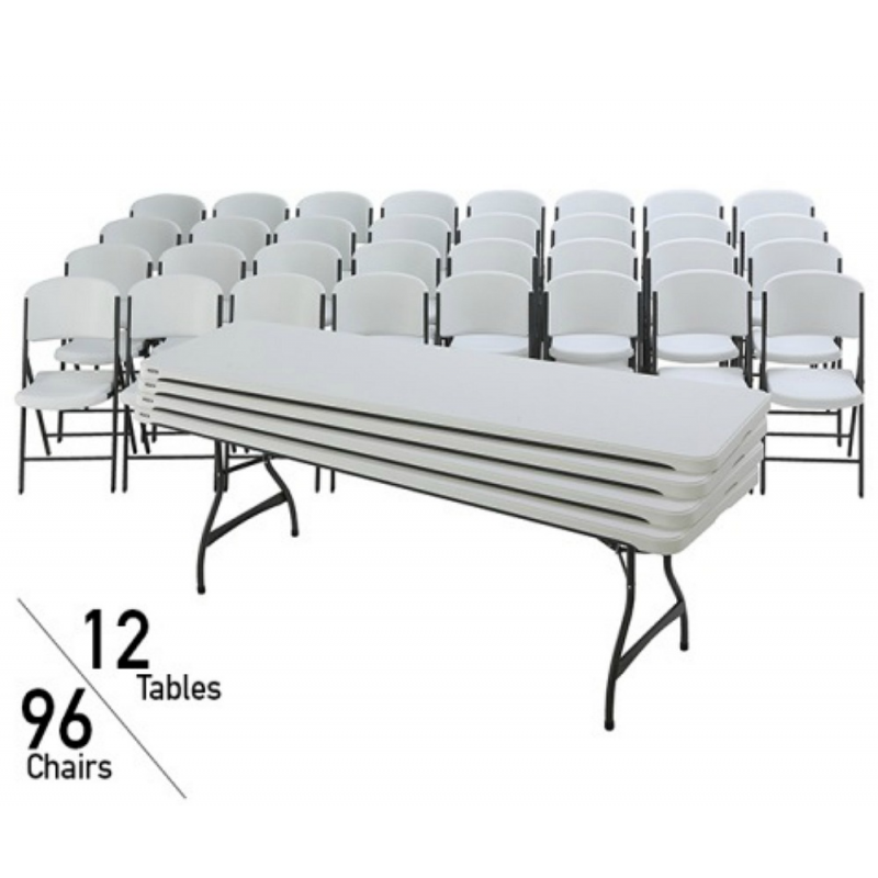 Lifetime 8 Ft Stacking Tables And Chairs Combo - White Granite (80543)