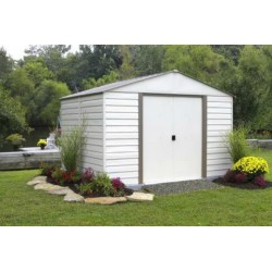 Arrow 10x12 Vinyl Milford Shed w/ Foundation & Shelving (VM1012B)