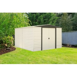 Arrow 10x12 Vinyl Dallas Shed w/ Foundation & Shelving (VD1012B)