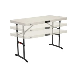 Lifetime 4ft Commercial Adjustable Folding Table with One Hand Adjust - Almond (80387)