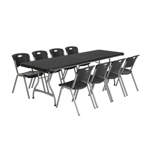 Lifetime 8ft Folding Table Lifetime 27-pack 8ft Commercial Stacking Folding Tables - Black ...