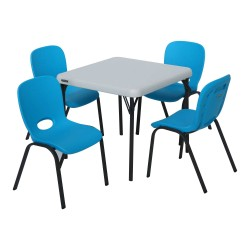 Lifetime Children's Table and Chairs Combo - Blue Chair, Almond Table (80499)