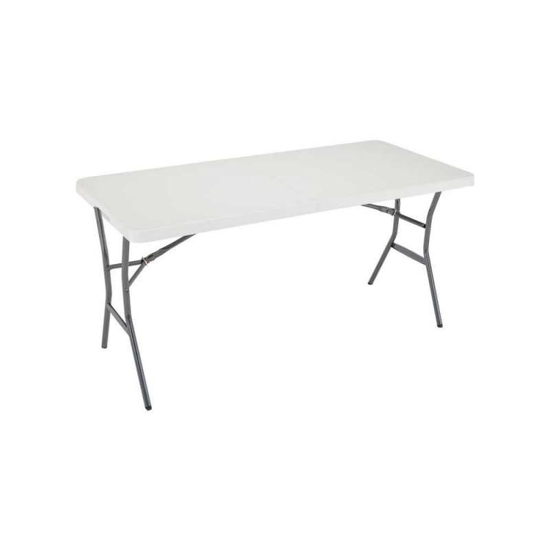 Lifetime 5ft Light Commercial Fold-In-Half Table - Pearl (80335)