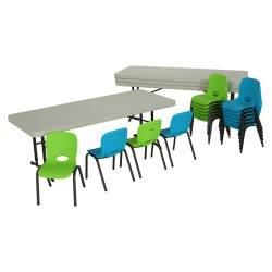 Lifetime Children's Chair and Table Combo - 4 6ft tables, 16 chairs (80520)