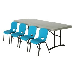 Lifetime Children's Chair and Table Combo - 1 6ft table, 4 blue chairs (80521)