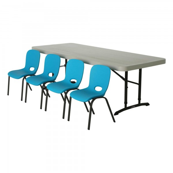 Children s chair and table combo 1 6ft table 4 blue chairs 80521