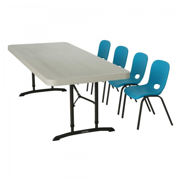 Children s chairs and table combo 1 6ft table 4 blue chairs 80521