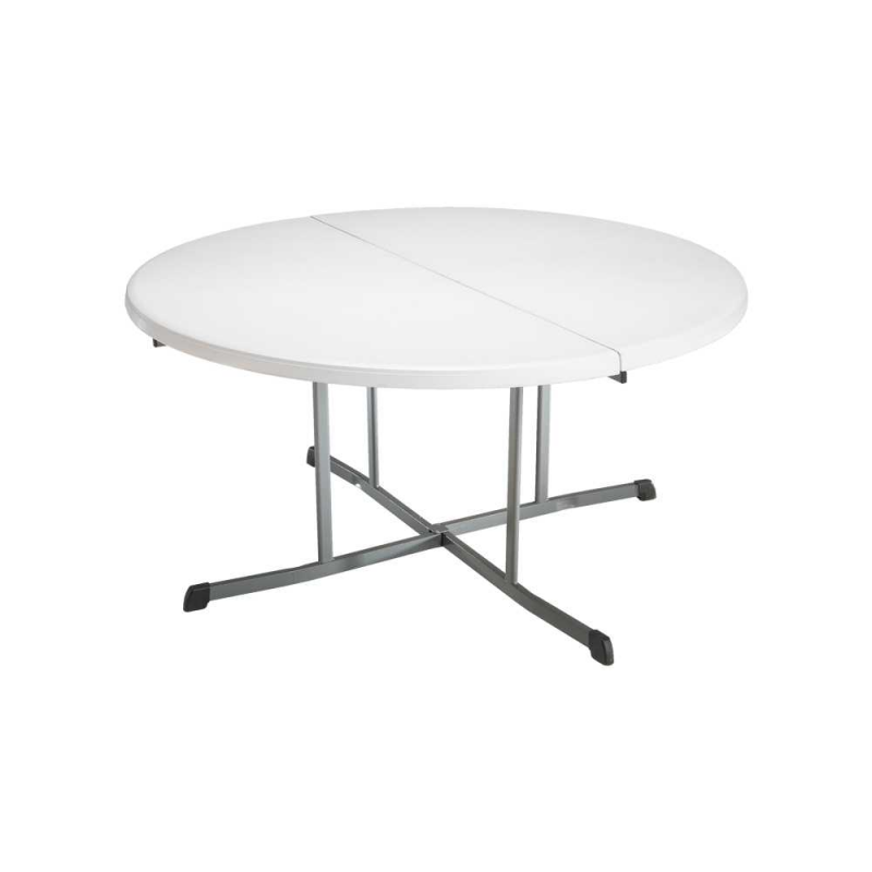 Lifetime Commercial 60 inch Round Fold-In-Half Table - White (80326)