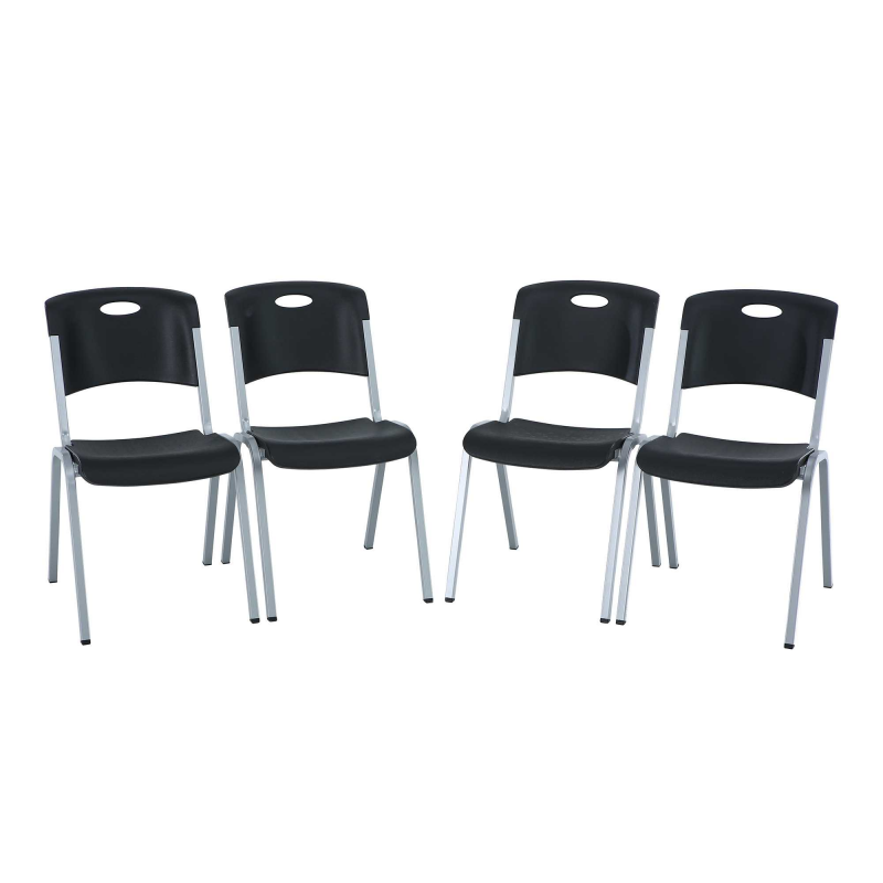 Lifetime 4-pack Contemporary Stacking Chairs - Black (480310)