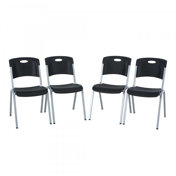 ... Lifetime 4-pack Commercial Contemporary Folding Chairs - Almond (480372) ...  sc 1 st  KitSuperStore.com & Lifetime 4-pack Contemporary Stacking Chairs - Black (480310)