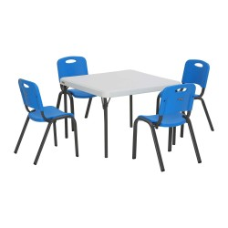 Lifetime 4-pack Stacking Chairs - Blue plus Kid's Table (80553)