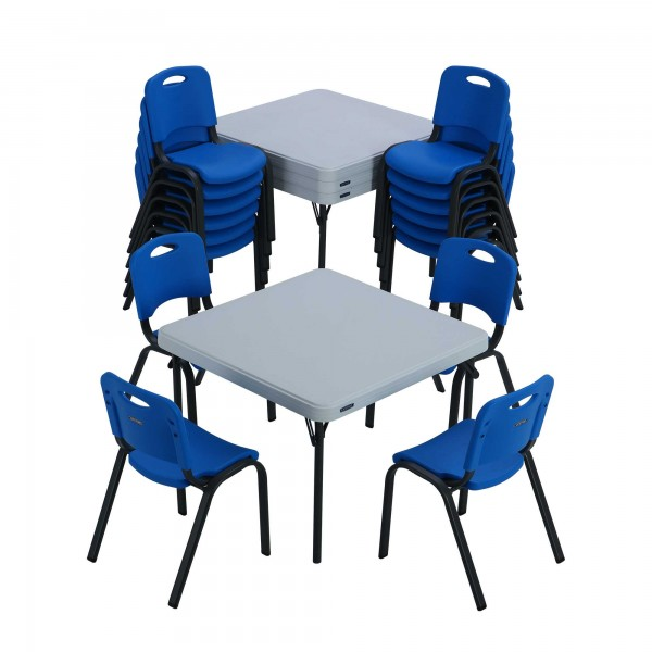 Lifetime 16 pack Kid s Stacking Chairs Blue and 4 pack