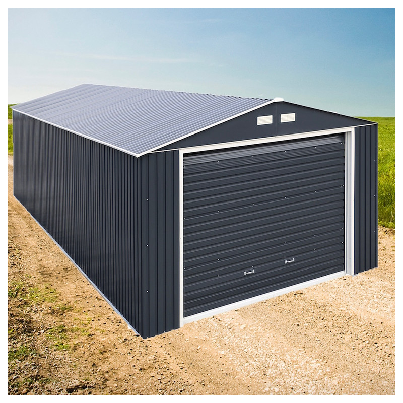Duramax 12x20 gray metal storage garage building kit 50951 for Large garage kits