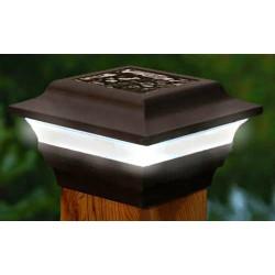 "Classy Caps 4"" x 4"" Aluminum Imperial Solar Post Cap- Bronze (SL211R)"