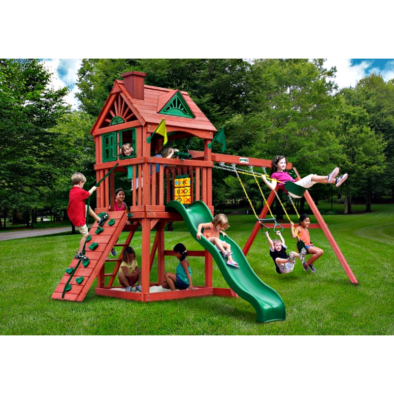 Gorilla Nantucket Backyard Cedar Wood Swing Set Kit - Redwood (01-0021)
