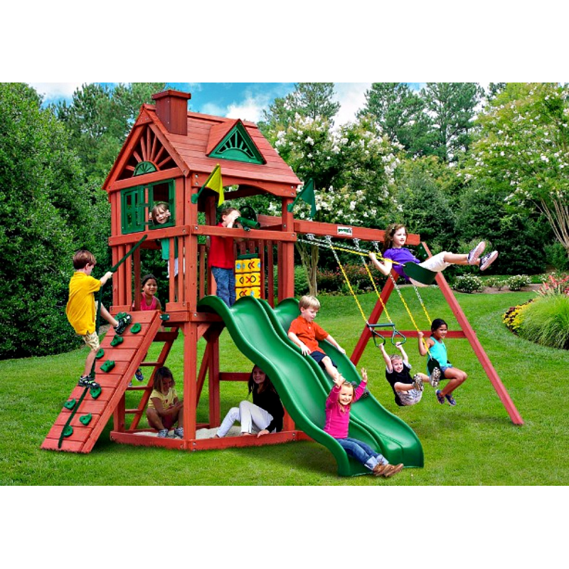 Gorilla Double Down Cedar Wood Swing Set Kit Amber 01 0036
