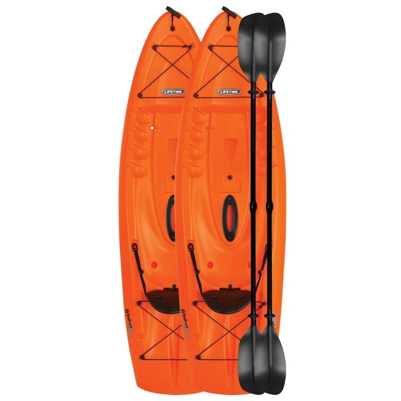 Lifetime 2-Pack 8.5 ft Hydros Plastic Kayaks w/ Paddles - Orange (90736)