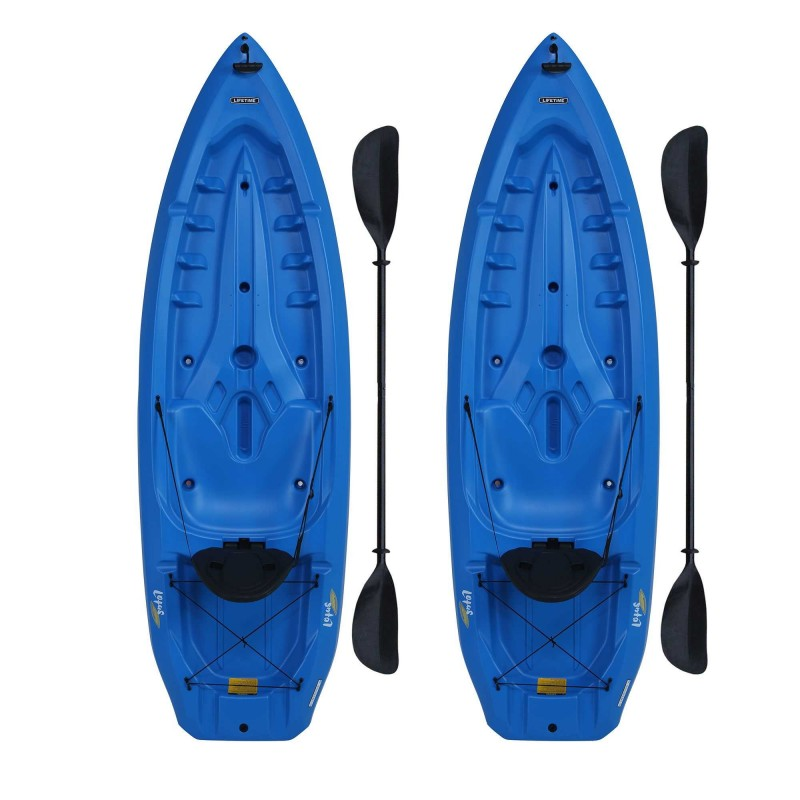 Lifetime 2-Pack 8 ft Lotus Plastic Kayaks w/ Paddles - Blue (90172)
