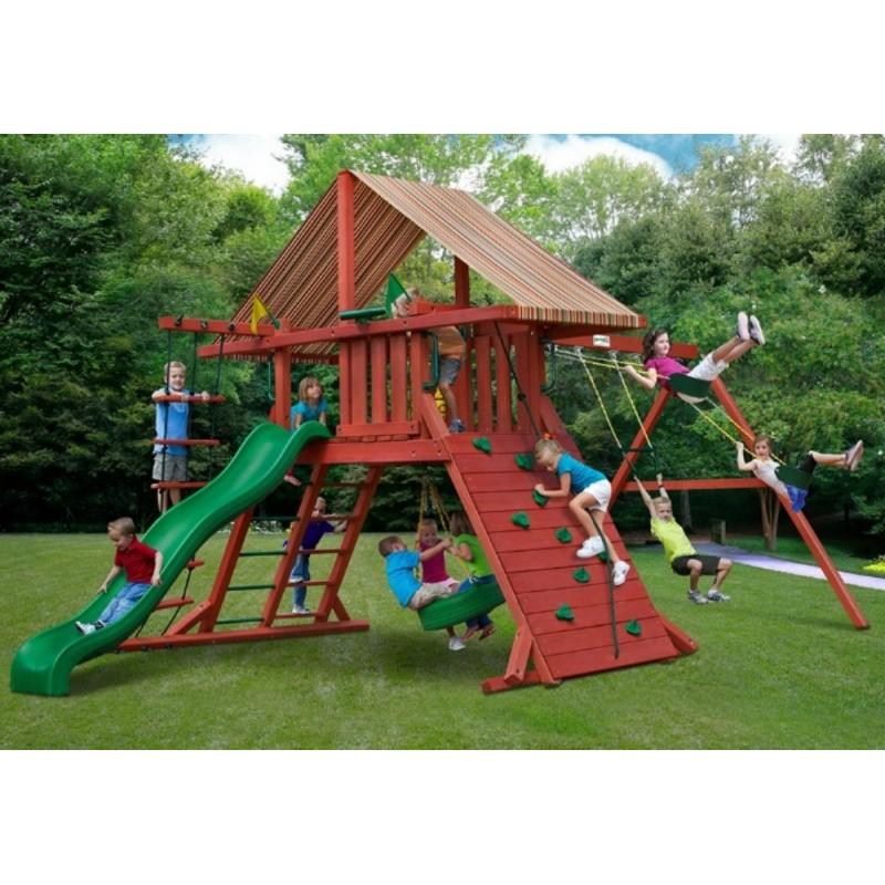 Gorilla Sun Climber I Cedar Swing Set Kit w/ Sunbrella® Brannon - Redwood (01-0026)