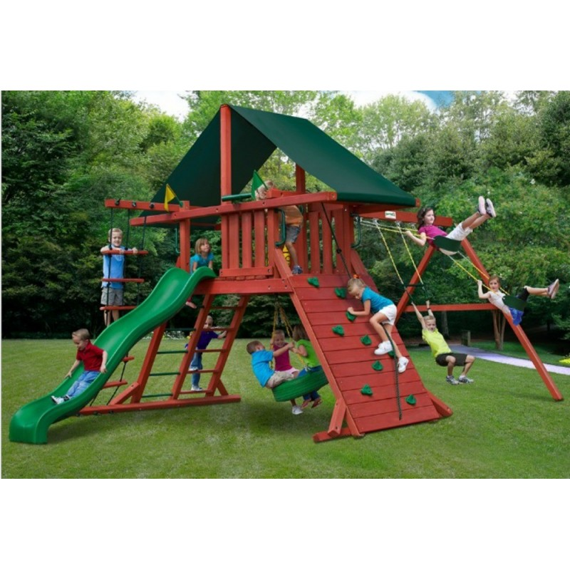 Gorilla Sun Climber I Cedar Wood Swing Set Kit w/Sunbrella® Canvas Forest Green - Redwood (01-0024)