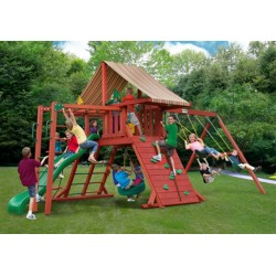Gorilla Sun Climber II Cedar Wood Swing Set Kit w Sunbrella® Brannon - Redwood (01-0027)