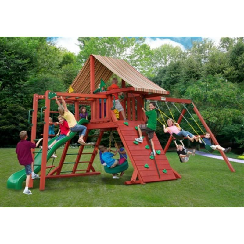 Gorilla Sun Climber II Cedar Wood Swing Set Kit w/ Sunbrella® Brannon - Redwood (01-0027)