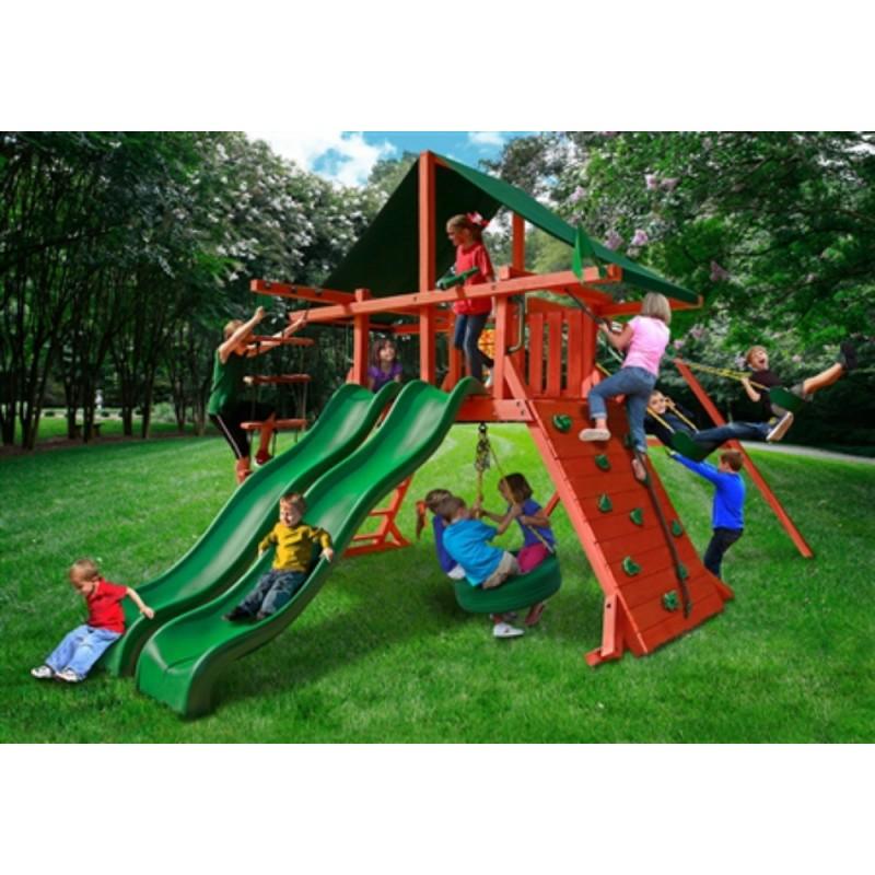 Gorilla Sun Climber Extreme Cedar Wood Swing Set Kit w/ Sunbrella® Canvas Forest Green - Redwood - (01-0041-2)