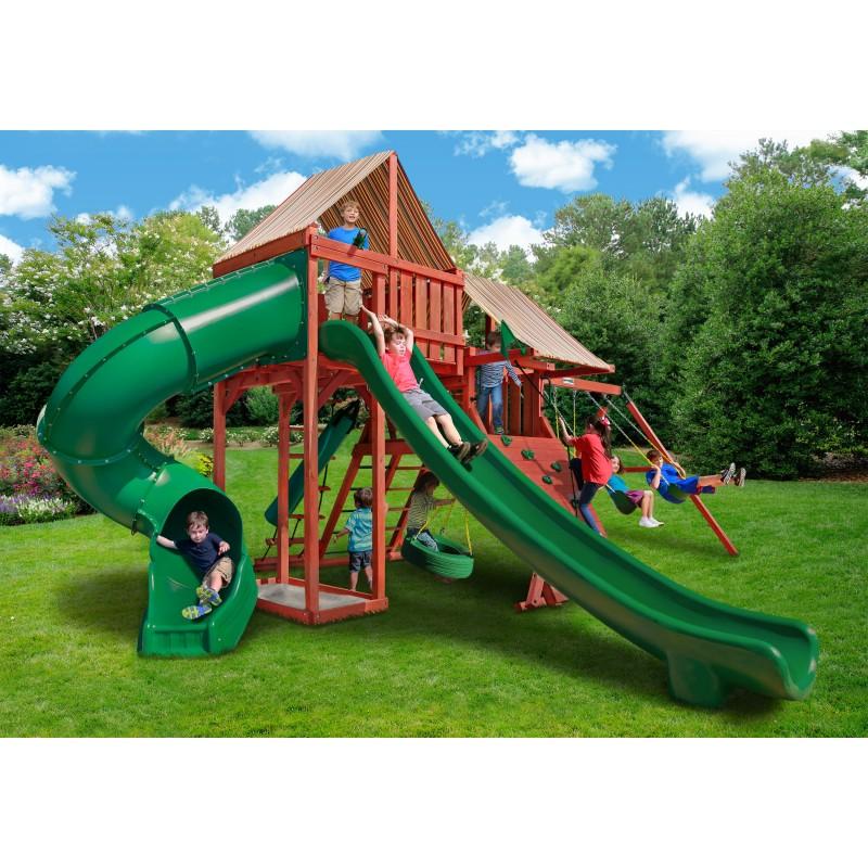 Gorilla Sun Climber Deluxe Cedar Wood Swing Set Kit w/ Sunbrella® Brannon Redwood- Redwood- (01-0042-3)