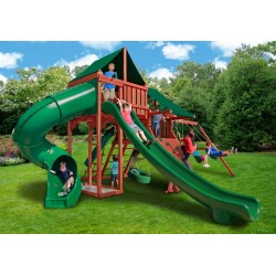 Gorilla Sun Climber Deluxe Cedar Wood Swing Set Kit w/ Sunbrella® Canvas Forest Green - Redwood - (01-0042-2)