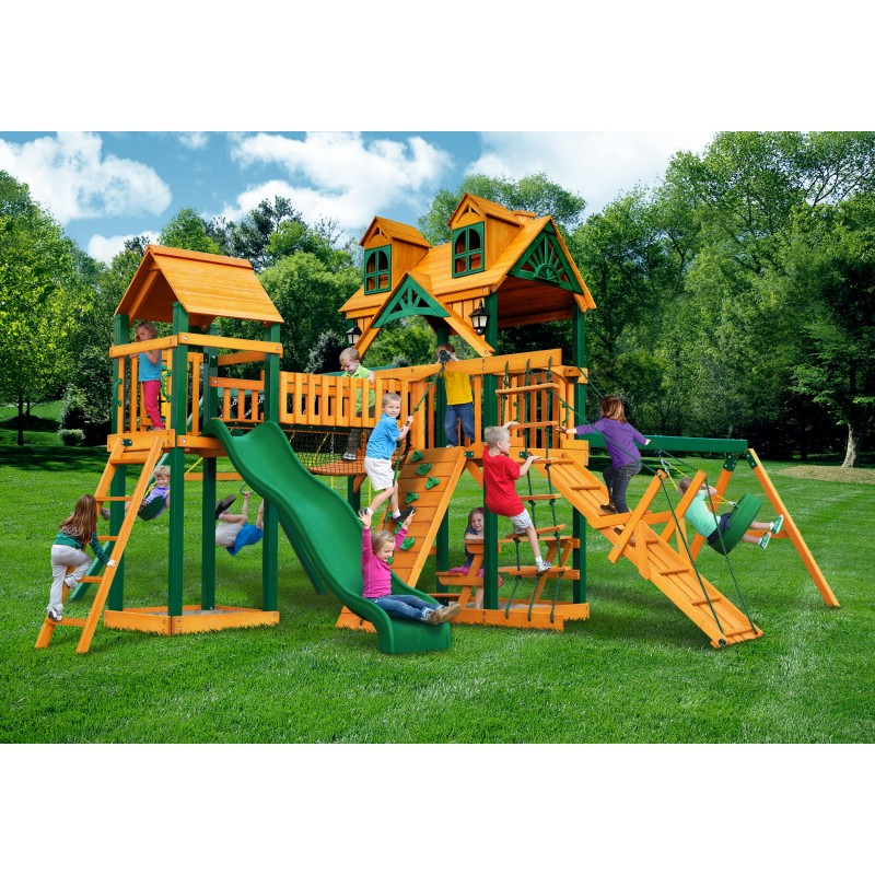 Gorilla Malibu Pioneer Peak Cedar Wood Swing Set w/ Timber Shield™ - Amber (01-0076-TS)