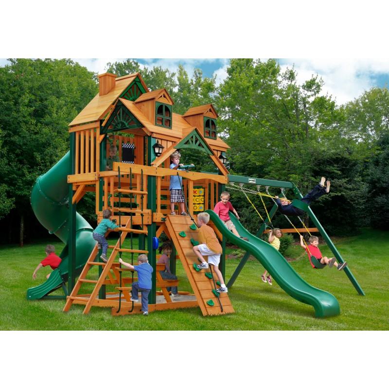 Gorilla Malibu Deluxe I w/ Timber Shield™ Swing Set kit - Amber (01-0047-TS)