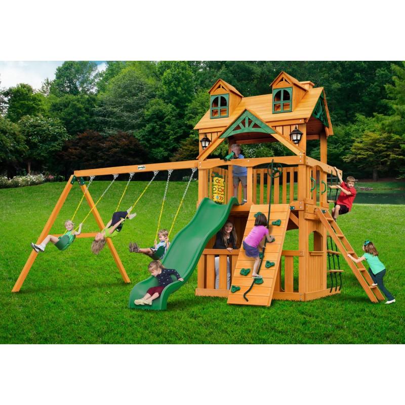 Gorilla Malibu Clubhouse Cedar Wood Swing Set w/ Amber Posts - Amber (01-0072-AP)