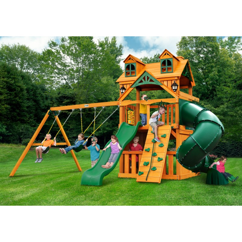 Gorilla Malibu Extreme Clubhouse Cedar Wood Swing Set Kit w/ Amber Posts - Amber (01-0073-AP)