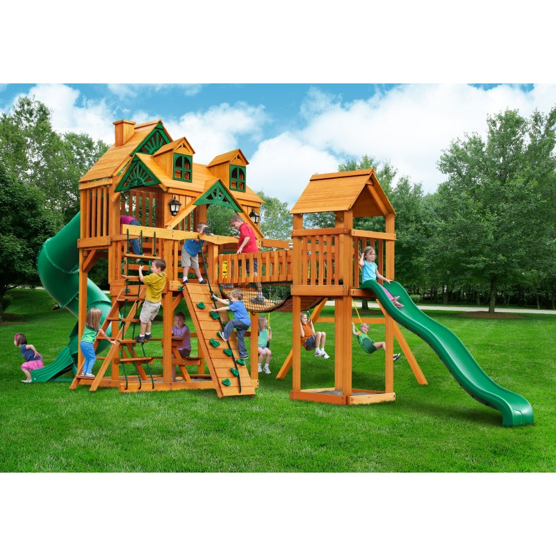 Gorilla Malibu Treasure Trove I Cedar Wood Swing Set Kit w/ Amber Posts (01-0077-AP)