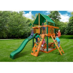 Gorilla Chateau Tower Cedar Wood Swing Set Kit w/Timber Shield™ and Deluxe Green Vinyl Canopy - Amber (01-0061-TS-1)