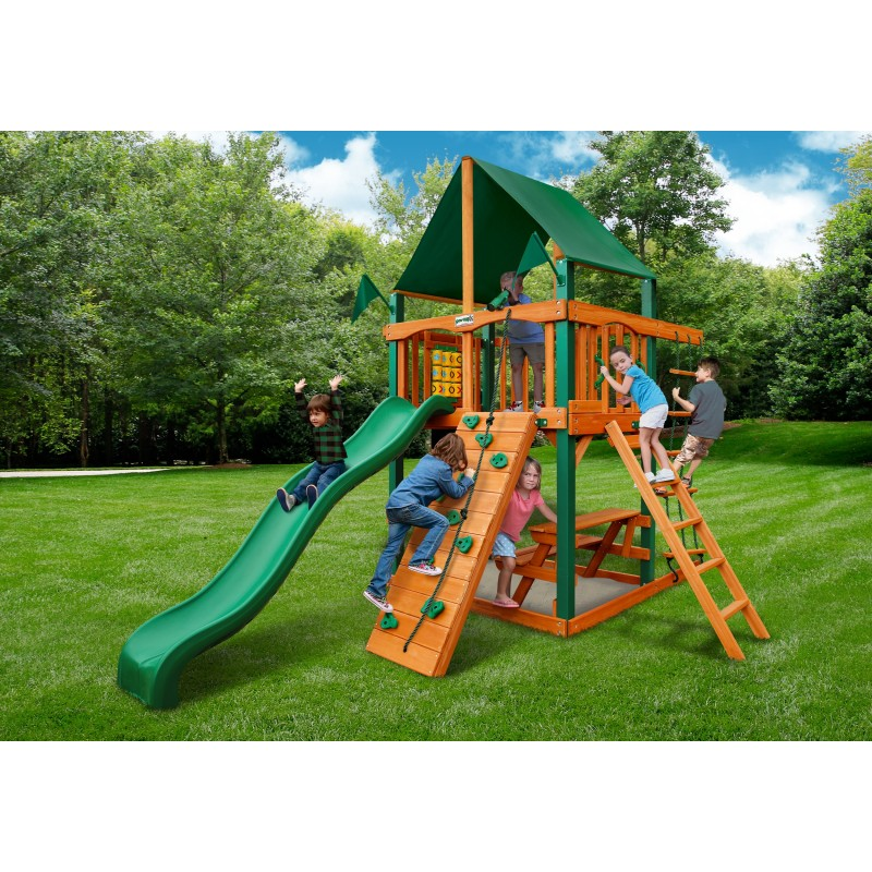 Gorilla Chateau Tower Cedar Wood Swing Set Kit w/ Timber™ Shield & Sunbrella® Canvas Forest Green Canopy - Amber (01-0061-TS-2)