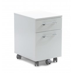 Unique Furniture Mobile Pedestal 2 Drawer File Cabinet - White (231-WH)