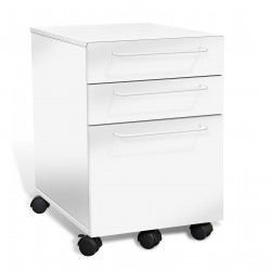 Jesper Office 3 Drawer Mobile File Cabinet - White (211-WH)