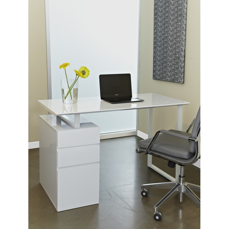 Jesper Office Writing Desk with Drawers - White (220-WH)