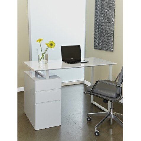Unique Furniture Writing Desk with Drawers - White (220-WH)