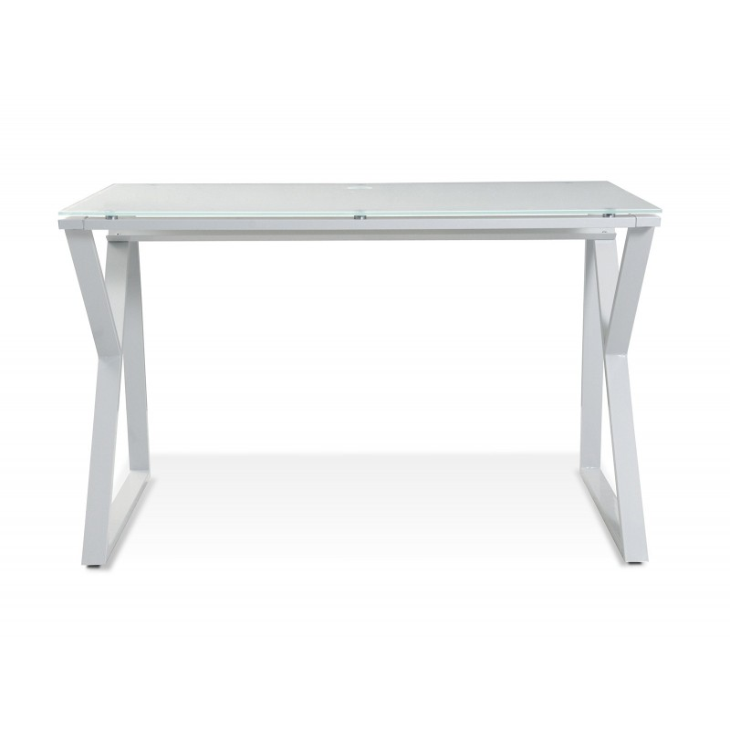 Jesper Office Desk with Pure White Glass Top - White (223-WH)