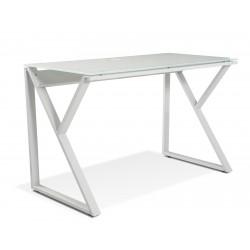Unique Furniture Desk with Pure White Glass Top - White (223-WH)