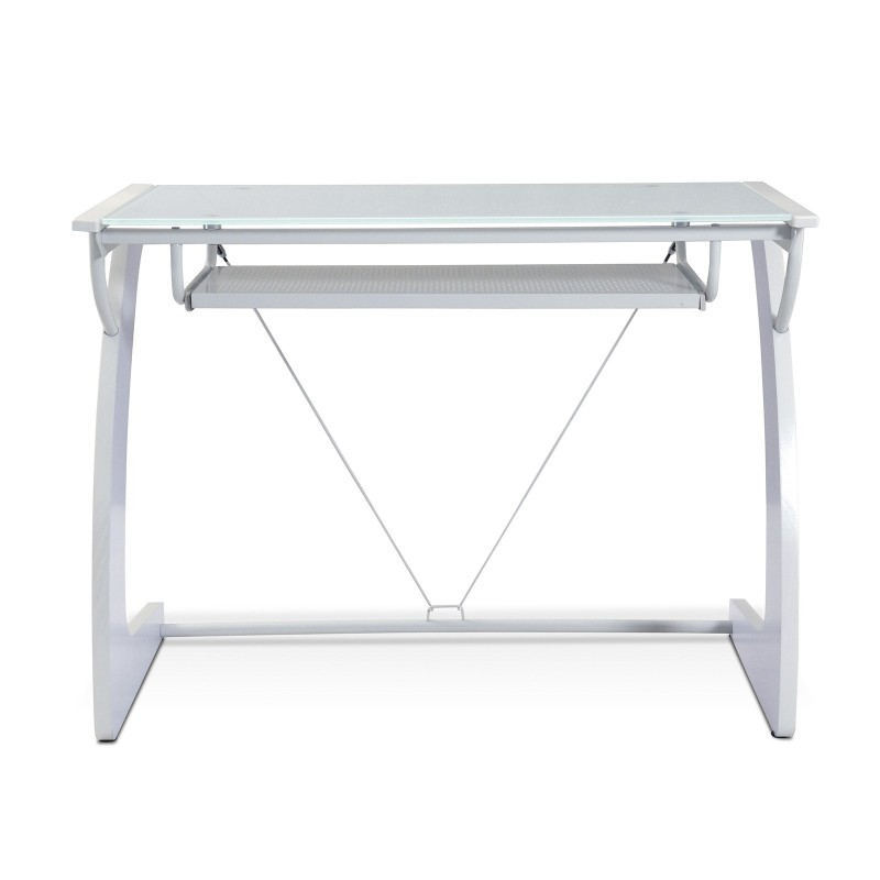 Jesper Office  Computer Desk with Pure White Glass Top - White (225-WH)