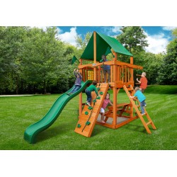 Gorilla Chateau Tower Cedar Wood Swing Set KIt  w/ Amber Posts & Deluxe Green Vinyl Canopy - Amber (01-0061-AP-1)